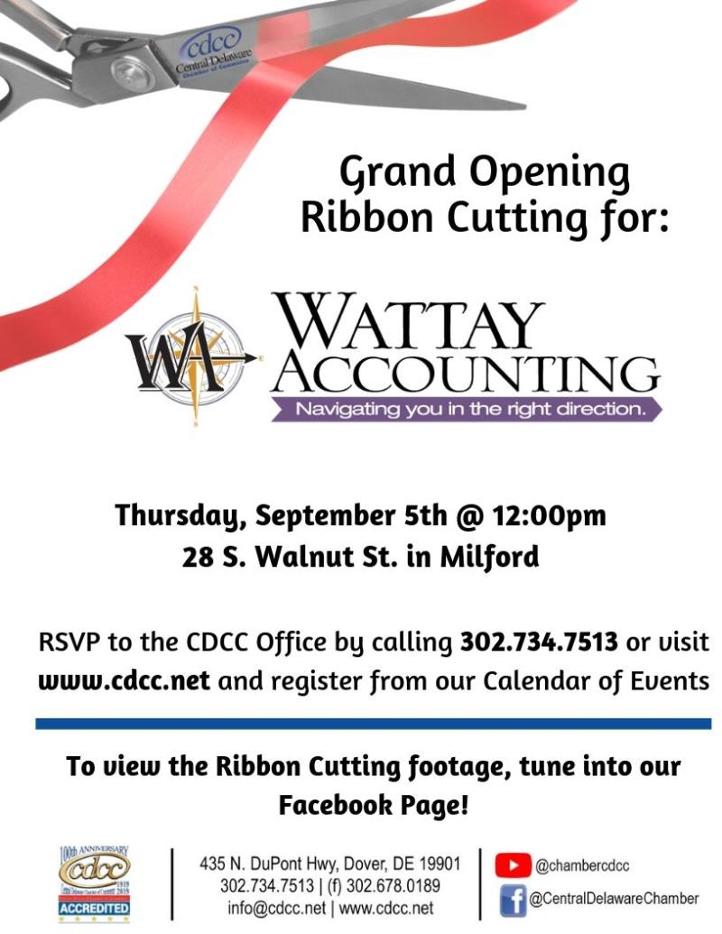 Ribbon Cutting - Wattay Accounting in Milford